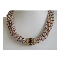 Vintage cultured pearl and Ruby bead necklace with Diamond closure, ca. 1970