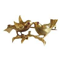 Antique Victorian love bird brooch, 14k yellow gold, 19th century