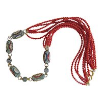 Vintage Micro Mosaic and Coral necklace, ca. 1950