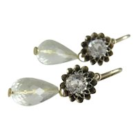 Antique  Rock Crystal and Citrine earrings, 9k yellow gold, ca.1910