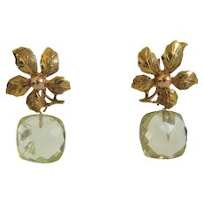 Vintage flower earrings with Citrine dangle, ca. 1950