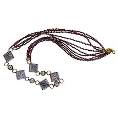 Antique Micro Mosaic and Garnet bead necklace,19th century