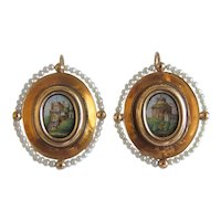 Antique Roman Micro Mosaic earrings, 18k yellow gold, 19th century