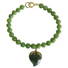 Vintage Jade bead bracelet, ca. 1960
