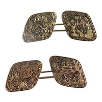 Antique 14 k yellow gold cufflinks, 19th century