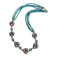 Vintage Micro Mosaic Turquoise necklace , early 20th century