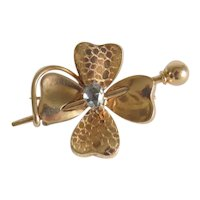 Antique 14 k yellow gold clover leaf brooch,19th century