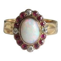 Antique Opal ,Ruby and Diamond ring, 14k yellow gold, ca. 1900