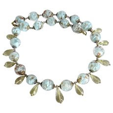 Vintage Murano bead necklace with Citrine Briolettes,ca. 1950