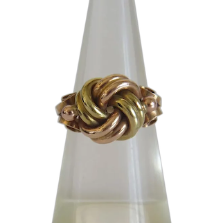 Antique knot ring, 14 k yellow and rose gold, 19th century
