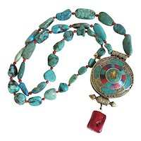 Vintage Turquoise and Coral necklace, 20th century