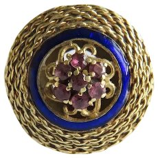 Antique Ruby and Enamel ring, 14 k yellow gold, 19th century