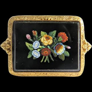Antique Roman Micro Mosaic flower brooch, 18k yellow gold
