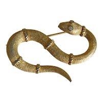 Antique gilt silver snake brooch, ca. 1900