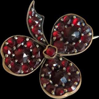 Victorian Garnet clover leaf brooch, 19th century