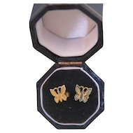 Vintage  butterfly ear studs ,14k yellow gold, ca.1960