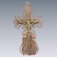 Antique gilded silver cross pendant, 19th century