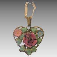 Art Nouveau enamel heart shaped pendant, ca. 1900