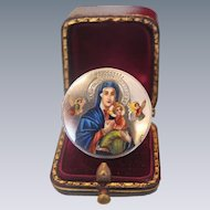 Antique  silver Enamel brooch depicting the Holy Virgin , 19th century