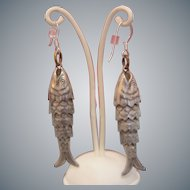 Antique silver flexible fish earrings, 19th century