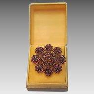 Antique gilt silver  Garnet brooch, 19th century