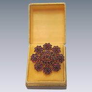 Antique gilt silver  Garnet brooch, 19th century