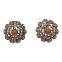 Antique silver clip earrings with a tomato red Coral in the center