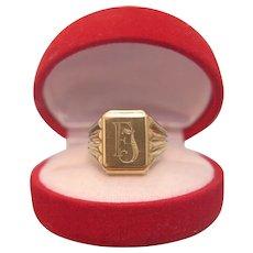 Timeless signet ring with monogram, fourteen karat yellow gold, ca.1965