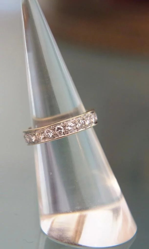 Diamond Wedding Ring Set In 18k White Gold Ca 1970