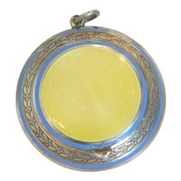 Yellow Guilloche enamel silver pendant, 19th century