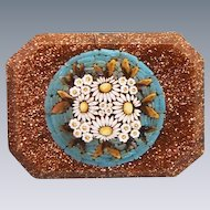 Antique Micro Mosaic brooch set in Venturina ,19th century