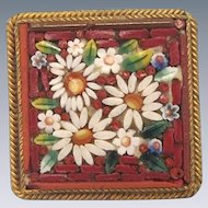 Antique MicroMosaic brooch with white flowers on a red ground , 19th  century