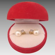 Vintage Cultured pearl and Diamond ear studs, 14k yellow gold, ca.1970
