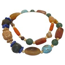 Vintage  necklace with   semi precious stone beads,ca.1950