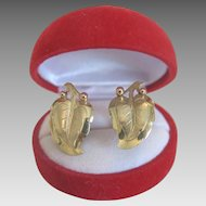 Vintage 14 k yellow gold ear clips,ca. 1960