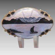 Art Deco Norway enamel silver brooch, ca. 1930