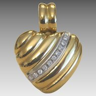 Vintage heart shaped Diamond and 18k yellow gold pendant, ca. 1960
