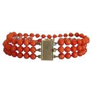 Vintage Coral  triple strand bead bracelet, 14k yellow gold closure, ca. 1940