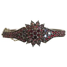 Antique Bohemian Garnet bangle, silver 800, 19th century