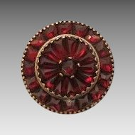 Victorian Garnet brooch set in silver plated metal, 19th century
