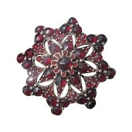 Antique Bohemian Garnet brooch, set in silver, 19th century