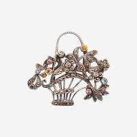 Antique  silver brooch with Marcasites and glass stones, silver, 19th century