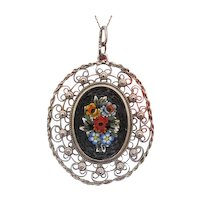 Venetian silver and Micro Mosaic pendant, early 20th century