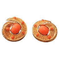 American Vintage costume earrings signed Trifari, mid 20th century