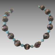 Vintage  Murano Venetian Wedding Cake glass bead necklace, early 20th century