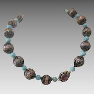 Vintage  Murano Venetian Wedding Cake glass bead necklace, early 20th century