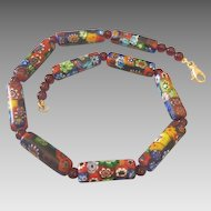 Vintage Venetian Mille Fiori Glass Bead Necklace ,ca.1950