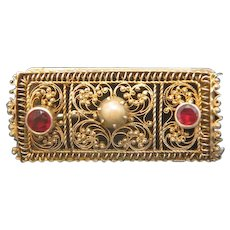 Victorian gilt silver brooch with two Garnets and a cultured pearl, 19th century