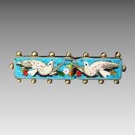 Antique Roman Micro Mosaic depicting two white doves, 19th century