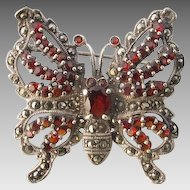 Art Nouveau Garnet and Marcasite , dated at ca. 1910